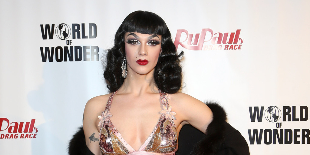 """LAS VEGAS, NV - FEBRUARY 20:  Cast member of season seven of """"RuPaul's Drag Race"""" Violet Chachki arrives at a viewing party for the show's premiere at the Chateau Nightclub & Rooftop at the the Paris Las Vegas on February 20, 2015 in Las Vegas, Nevada.  (Photo by Gabe Ginsberg/FilmMagic)"""